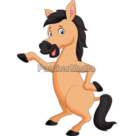 cute brown horse cartoon waving
