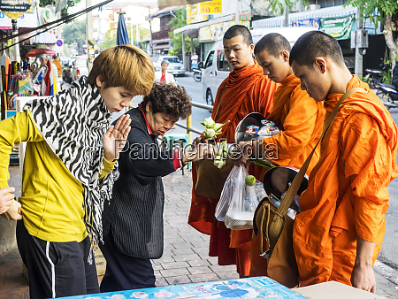 thailand chiang mai monks receiving morning