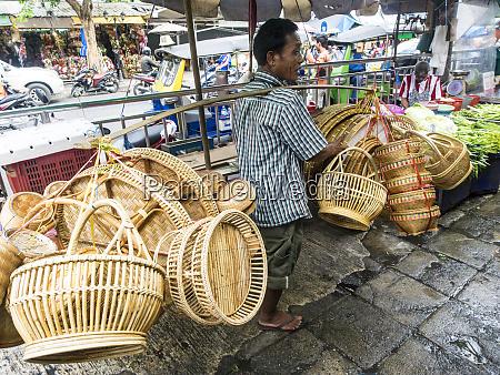 thailand bangkok sidewalk basket sales