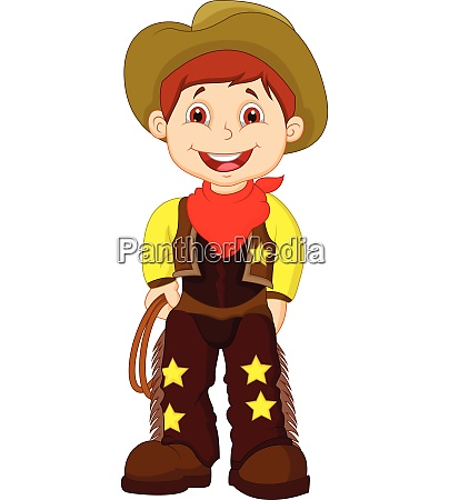cute young cowboy holding lasso