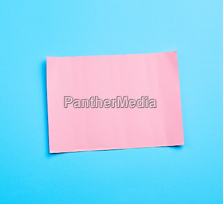blue banner with pink paper sheet