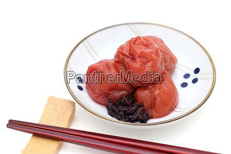 japanese white rice and umeboshi plum