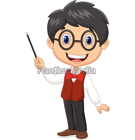 cartoon boy teaching