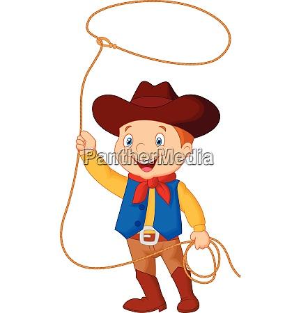 cowboy kid twirling a lasso