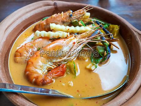 shrimps curry in coconut milk thai