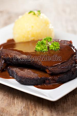 sauerbraten meat and potato dumpling