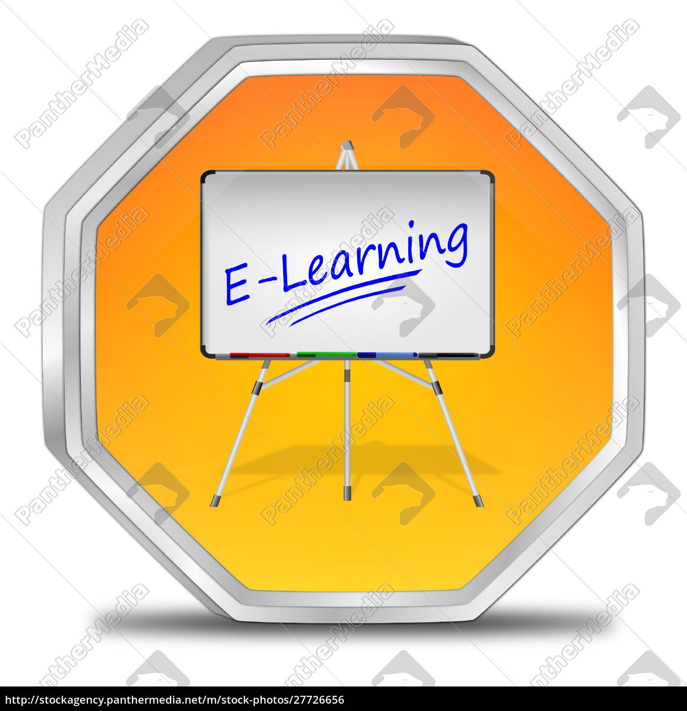 Orange E Learning Button 3d Illustration Royalty Free Photo 27726656 Panthermedia Stock Agency