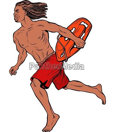 water rescuer hawaiian man runs to