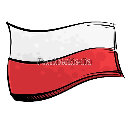 painted poland flag waving in wind