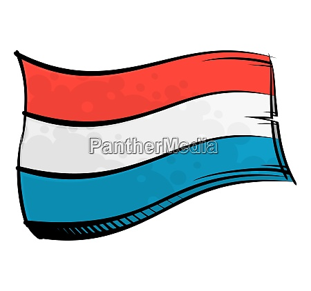 painted luxembourg flag waving in wind