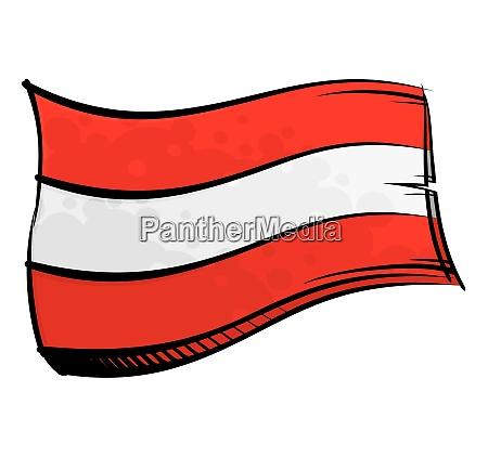 painted austria flag waving in wind