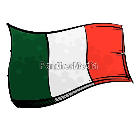 painted italy flag waving in wind