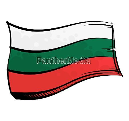painted bulgaria flag waving in wind