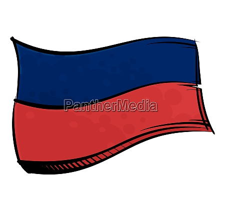 painted haiti flag waving in wind