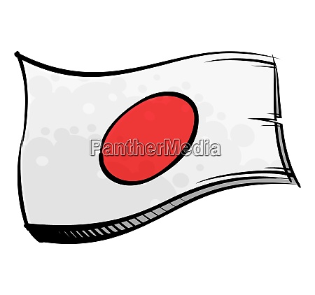 painted japan flag waving in wind