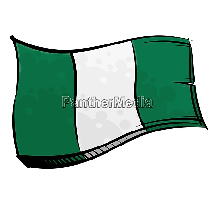 painted nigeria flag waving in wind