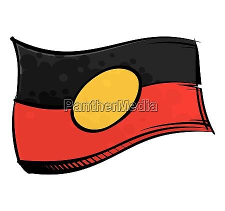 painted aboriginal flag waving in wind