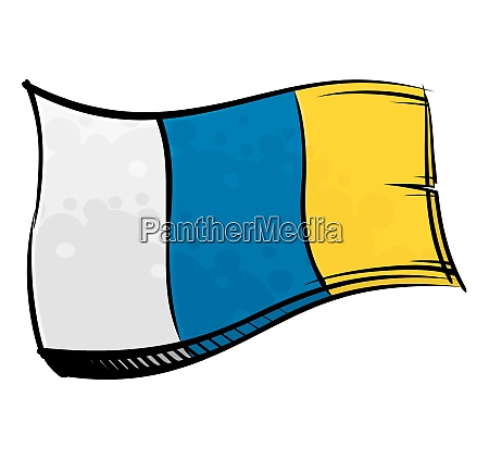 painted canary islands flag waving in