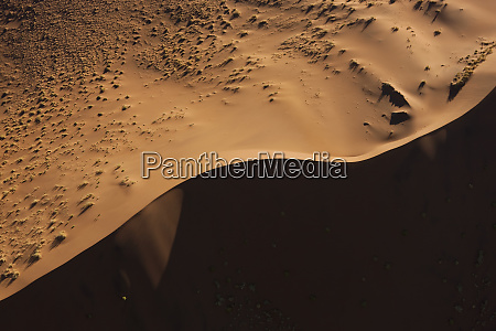 aerial view over sand dunes namib