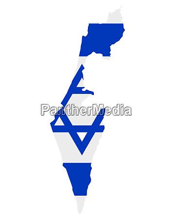 fahne in landkarte von israel