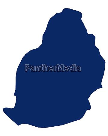 karte von mauritius in blauer farbe