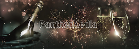 celebrations with fireworks and champagne