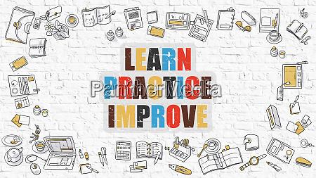 learn practice improve in multicolor doodle