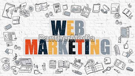 web marketing in multicolor doodle design