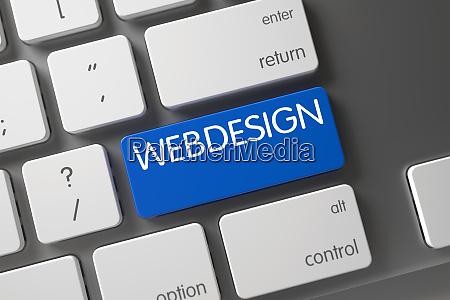 webdesign blue button of keyboard