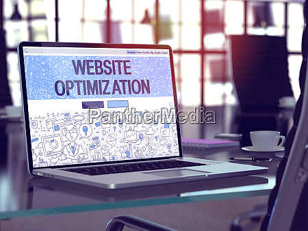 laptop screen with website optimization concept