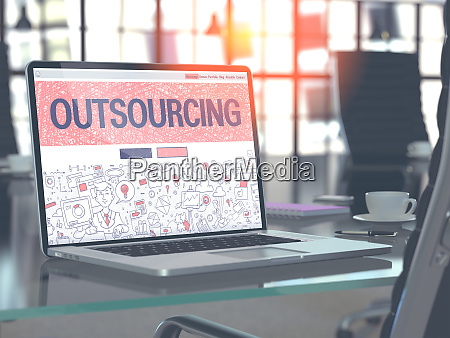outsourcing concept on laptop screen