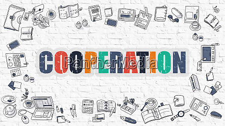 cooperation concept with doodle design icons
