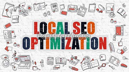 local seo optimization in multicolor doodle