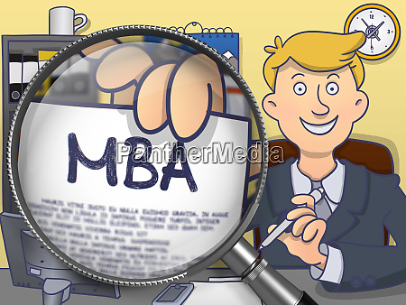mba through magnifying glass doodle concept