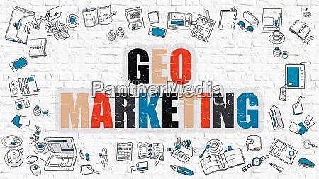 geo marketing on white brick wall