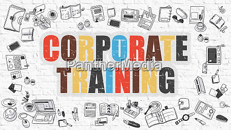 multicolor corporate training on white brickwall