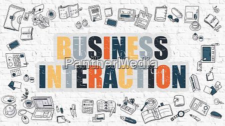 multicolor business interaction on white brickwall
