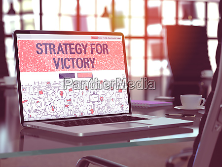 strategy for victory concept on laptop
