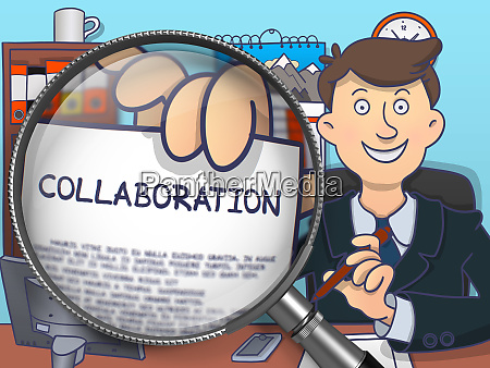 collaboration through magnifying glass doodle concept