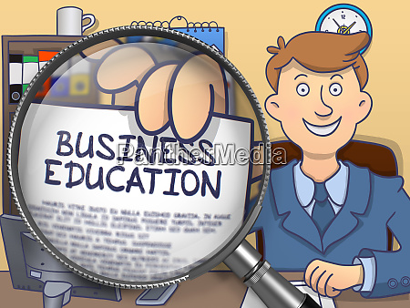 business education through magnifying glass doodle