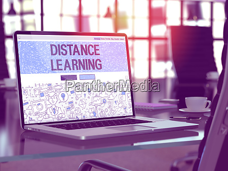 distance learning on laptop in modern