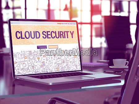cloud security concept on laptop screen