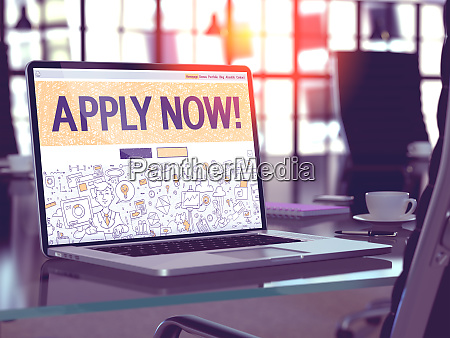 apply now concept on laptop screen
