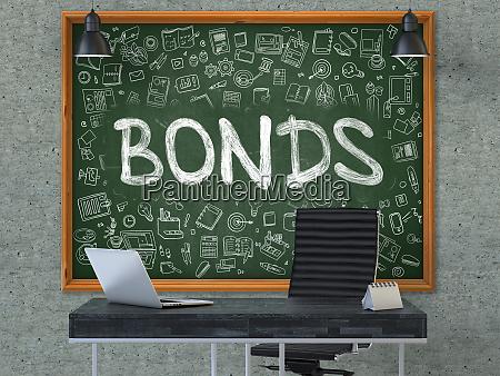 bonds concept doodle icons on chalkboard