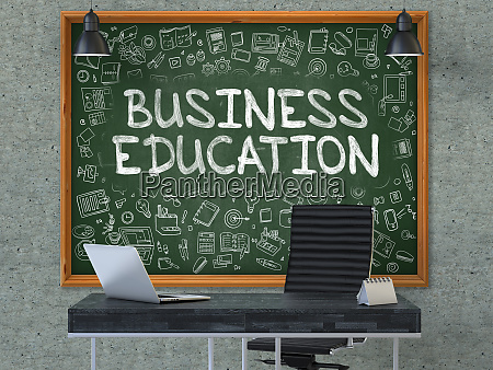 business education on chalkboard with doodle
