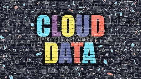 cloud data concept multicolor on dark