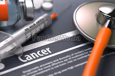 cancer printed diagnosis on grey