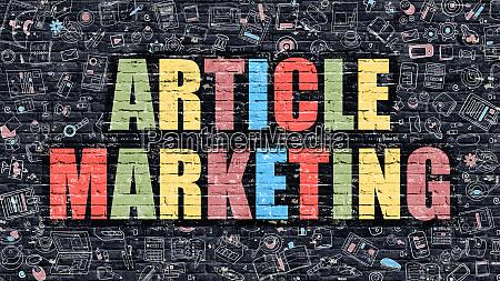 article marketing on dark brick wall