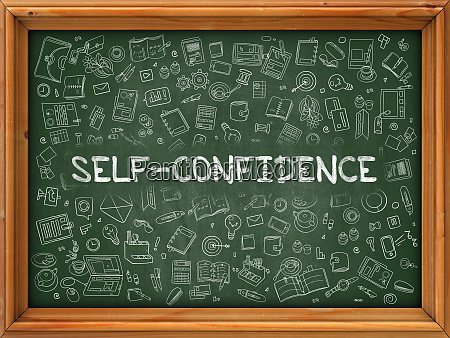 hand drawn self confidence on green