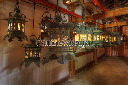 japan kyoto interior of shinto shrine